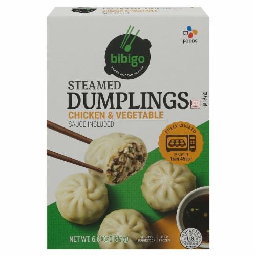CJ Bibigo Chicken & Vegetable Steamed Dumplings Perspective: front