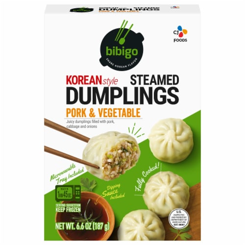CJ Bibigo Pork & Vegetable Steamed Dumplings Perspective: front