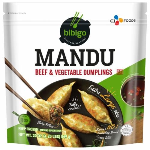 CJ Bibigo Beef & Vegetable Mandu Dumplings Perspective: front