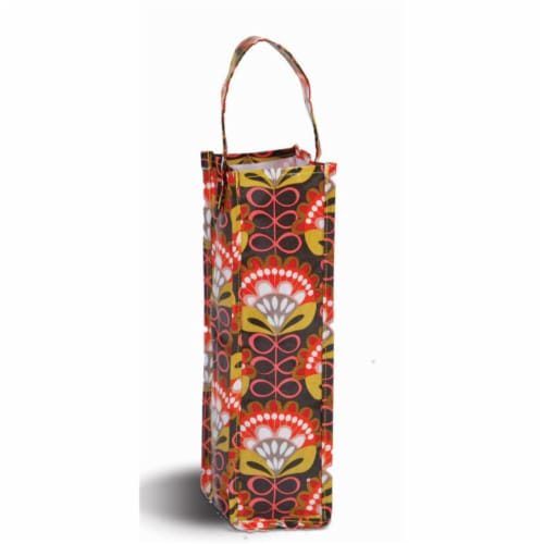 Picnic Plus Coated Canvas Wine Gift Bottle Bag - Orange Martini Perspective: front