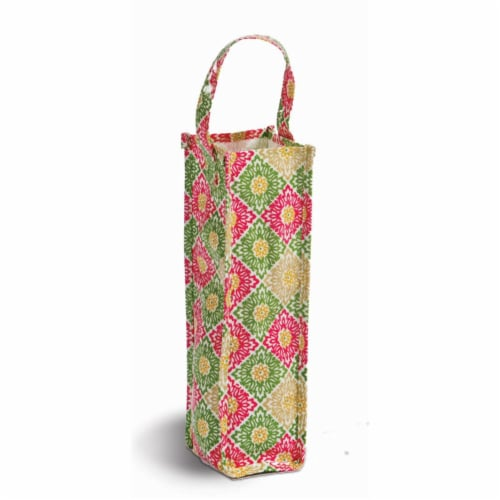 Picnic Plus Coated Canvas Wine Gift Bottle Bag - Green Gazebo Perspective: front