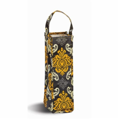 Picnic Plus Coated Canvas Wine Gift Bottle Bag - Provence Flair Perspective: front