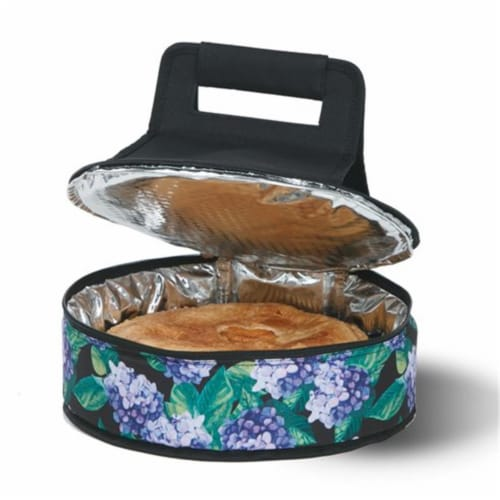 Picnic Plus Cake & Carry Carrier Tin, Hydrangea Black & Purple Perspective: front