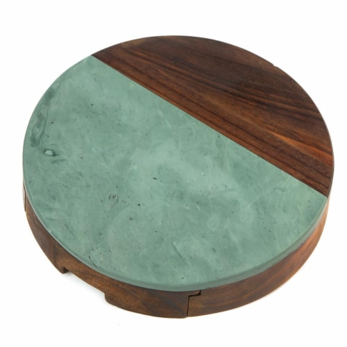 Picnic Plus PSM-559GR Winslow Marble Cheese Tray - Green Perspective: front