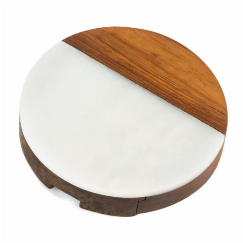 Picnic Plus PSM-559WH Winslow Marble Cheese Tray - White Perspective: front