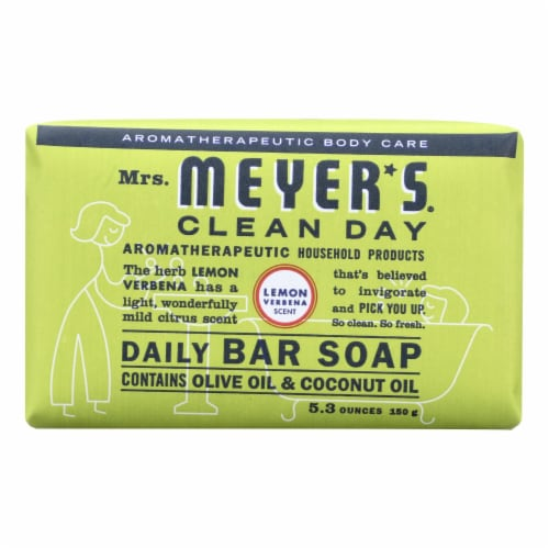 Mrs. Meyer's Clean Day Lemon Verbena Bar Soap Perspective: front