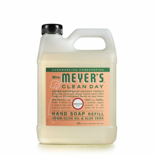 Mrs. Meyer's Clean Day Olive Oil And Aloe Vera Geranium Hand Soap Refill Perspective: front