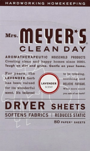 Mrs. Meyer's Clean Day Lavender Dryer Sheets Perspective: front