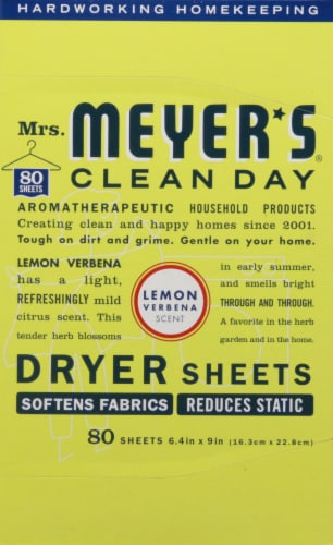 Mrs. Meyer's Clean Day Lemon Verbena Dryer Sheets Perspective: front