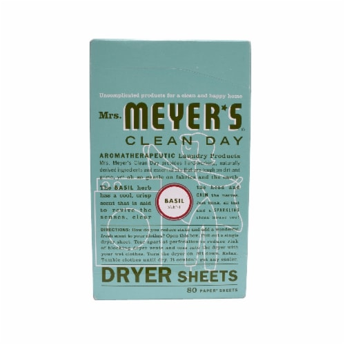 Mrs. Meyer's Clean Day Basil Dryer Sheets Perspective: front