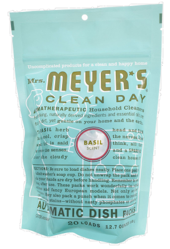 Mrs. Meyer's Basil Automatic Dishwasher Soap 20 Count Perspective: front