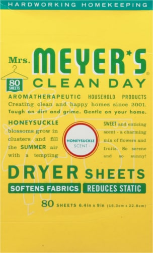 Mrs. Meyer's Clean Day Honeysuckle Dryer Sheets Perspective: front