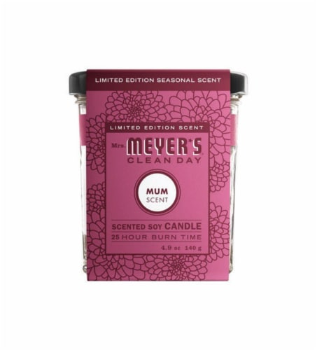 Mrs. Meyer's Clean Day Mum Scent Soy Candle Perspective: front
