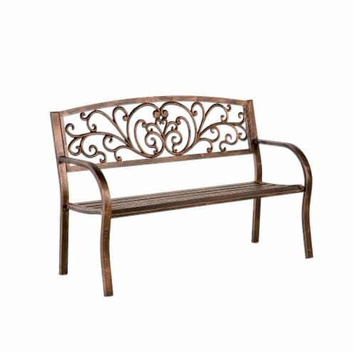 Plow and Hearth Blooming Garden Metal Bench Perspective: front