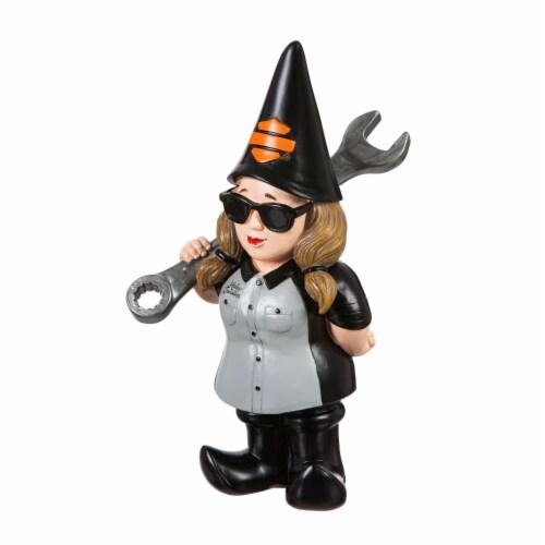 Harley-Davidson Mechanic Female Garden Gnome Perspective: front