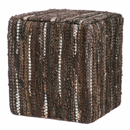 Evergreen Garden Leather Pouf - Brown Perspective: front