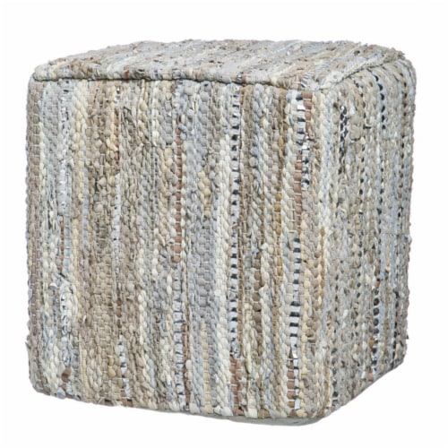 Evergreen Garden Leather Pouf - Beige Perspective: front