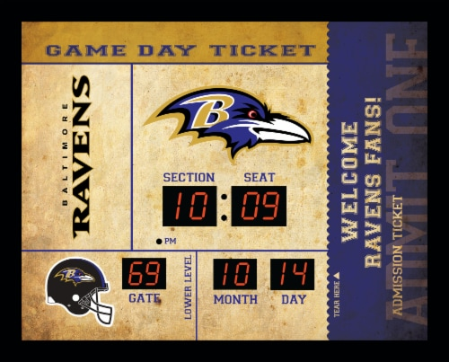 Baltimore Ravens Bluetooth Scoreboard Wall Clock Perspective: front