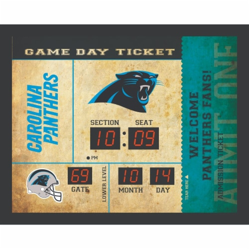 Carolina Panthers Bluetooth Scoreboard Wall Clock Perspective: front