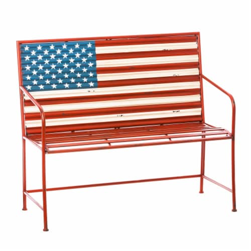 Evergreen Garden American Flag Corrugated Metal Bench Perspective: front