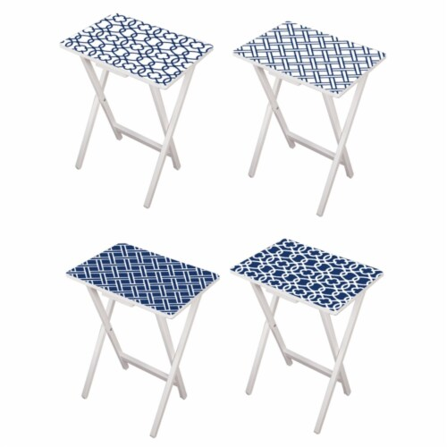Evergreen Garden Mod Blue and White TV Trays with White Stand Perspective: front