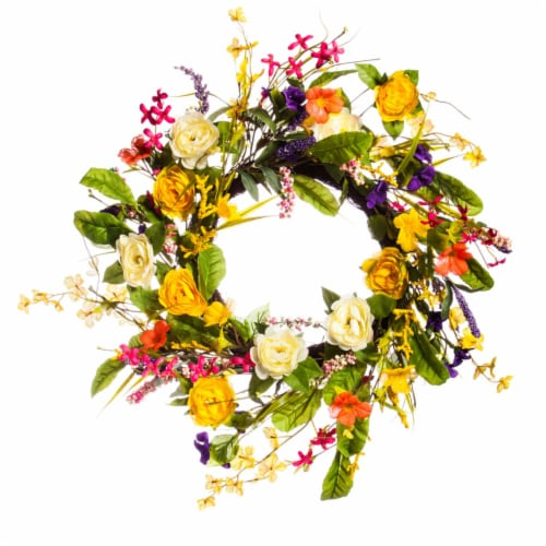 Evergreen Garden Spring Floral Wreath Perspective: front