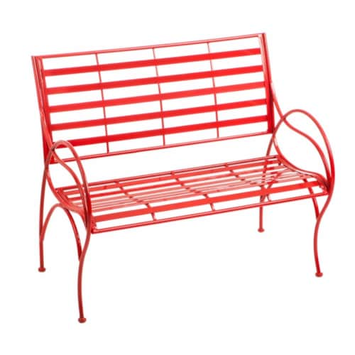 Evergreen Garden Red Swirl Garden Bench Perspective: front