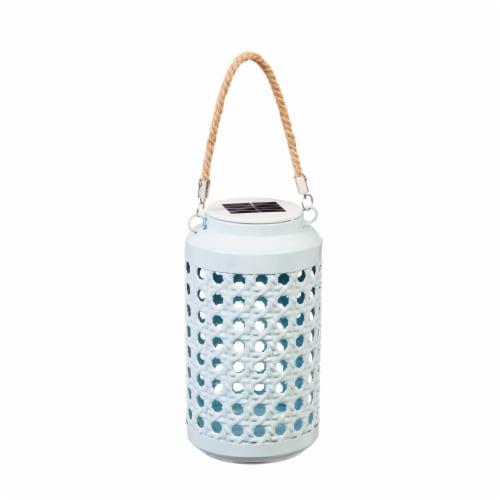 Evergreen Wicker Light-N-Motion Solar Metal Lantern - Aqua Perspective: front