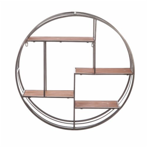 Evergreen Garden Round Metal Wall Display with Wood Shelves Perspective: front