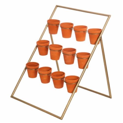 Evergreen Garden Standing Metal Terra Cotta Pot Holder Perspective: front