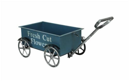 Rustic Blue Fresh Flowers Wagon Planter Stand Cart Indoor Outdoor Garden Decor Perspective: front