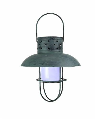 Weathered Coastal Blue Industrial Style Solar Powered LED Hanging Lantern Perspective: front