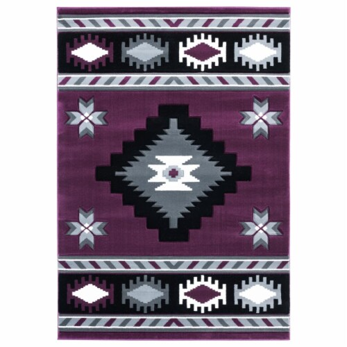 United Weavers of America 2050 10482 69 5 ft. 3 in. x 7 ft. 6 in. Bristol Caliente Plum Recta Perspective: front