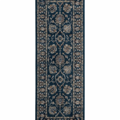 United Weavers of America 4500 10864 28E Century Griffen Navy Runner Rug, 2 ft. 7 in. x 7 ft. Perspective: front