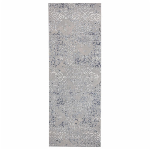 United Weavers of America 2601 10360 28E Cascades Marblemount Blue Runner Rug, 2ft 7in x 7ft Perspective: front
