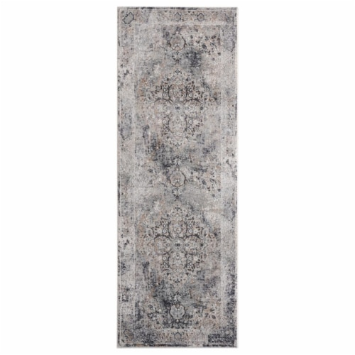United Weavers of America 4520 11772 28E Aspen Neale Grey Runner Rug, 2ft 7in x 7ft 2in Perspective: front