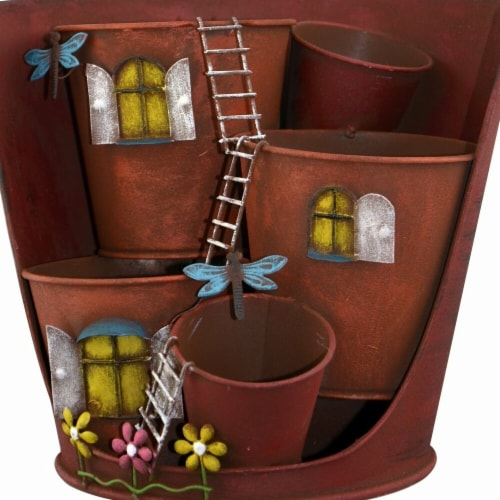 Red Carpet Studios 4 Pot Bucket Planter with Ladders Perspective: front