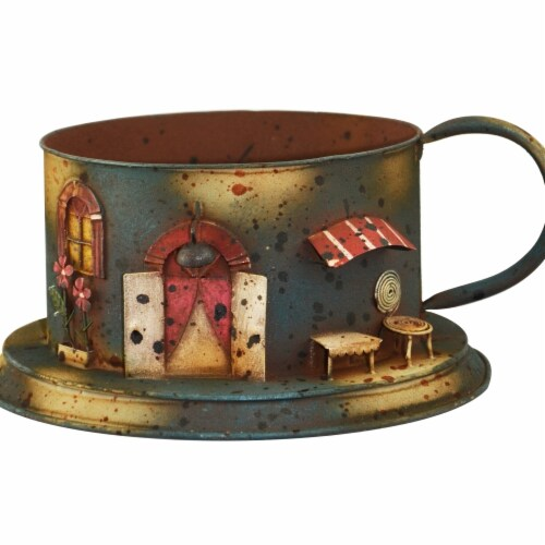 Red Carpet Studios 20122 Coffee Cup Scene Planter, Blue - Large Perspective: front