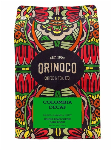 Orinoco Coffee & Tea  Whole Bean Coffee Dark Roast    Colombia Decaf Perspective: front