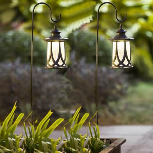 Winsome House Traditional Solar Lanterns with Shepherd Hooks - Set of 2 Perspective: front