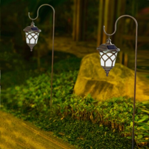 Winsome House Hanging Solar Lanterns with Shepherd Hooks - Set of 2 Perspective: front