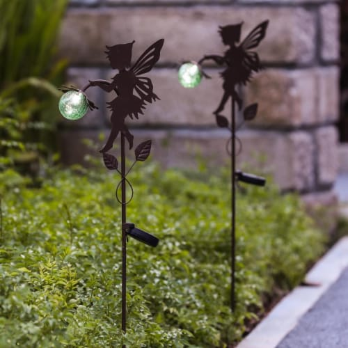 Winsome House Fairy Solar Light Stakes - Set of 2 Perspective: front