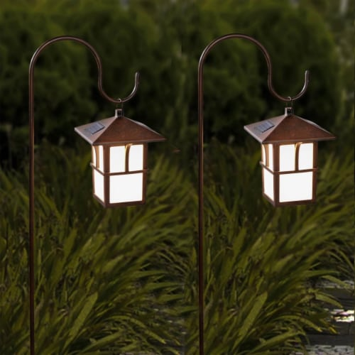 Winsome House Pagoda Hanging Solar Lanterns with Shepherd Hooks - Set of 2 Perspective: front