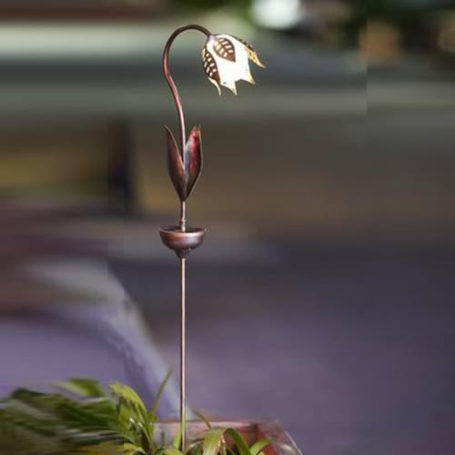 Winsome House Tulip Solar Light Stake, Brown Perspective: front