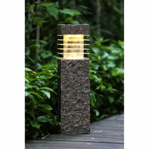 Winsome House Faux Rock Post with Solar Light Perspective: front