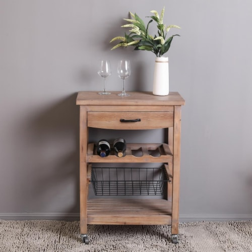Luxen Home Mobile Bar and Wine Cart Perspective: front