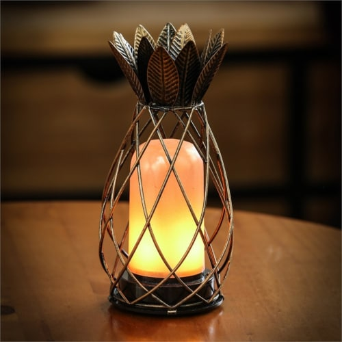 Luxen Home WHDL408 7.9 in. Iron Pineapple Cage LED Lantern Perspective: front