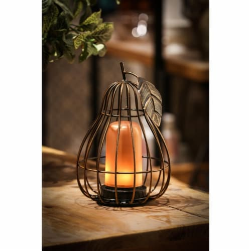 Luxen Home  7.9 in. Iron Pear Cage LED Lantern Perspective: front