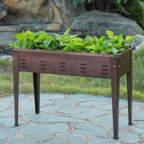 Luxen Home 49.5 in. Metal Rectangular Raised Garden Planter Perspective: front