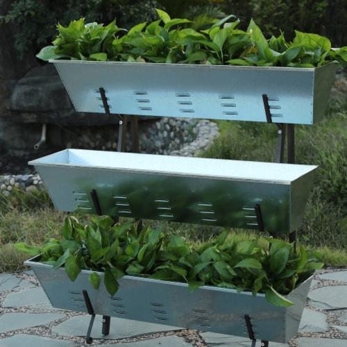Luxen Home WHPL430 Metal Single Side 3-Tier Raised Garden Planter Perspective: front